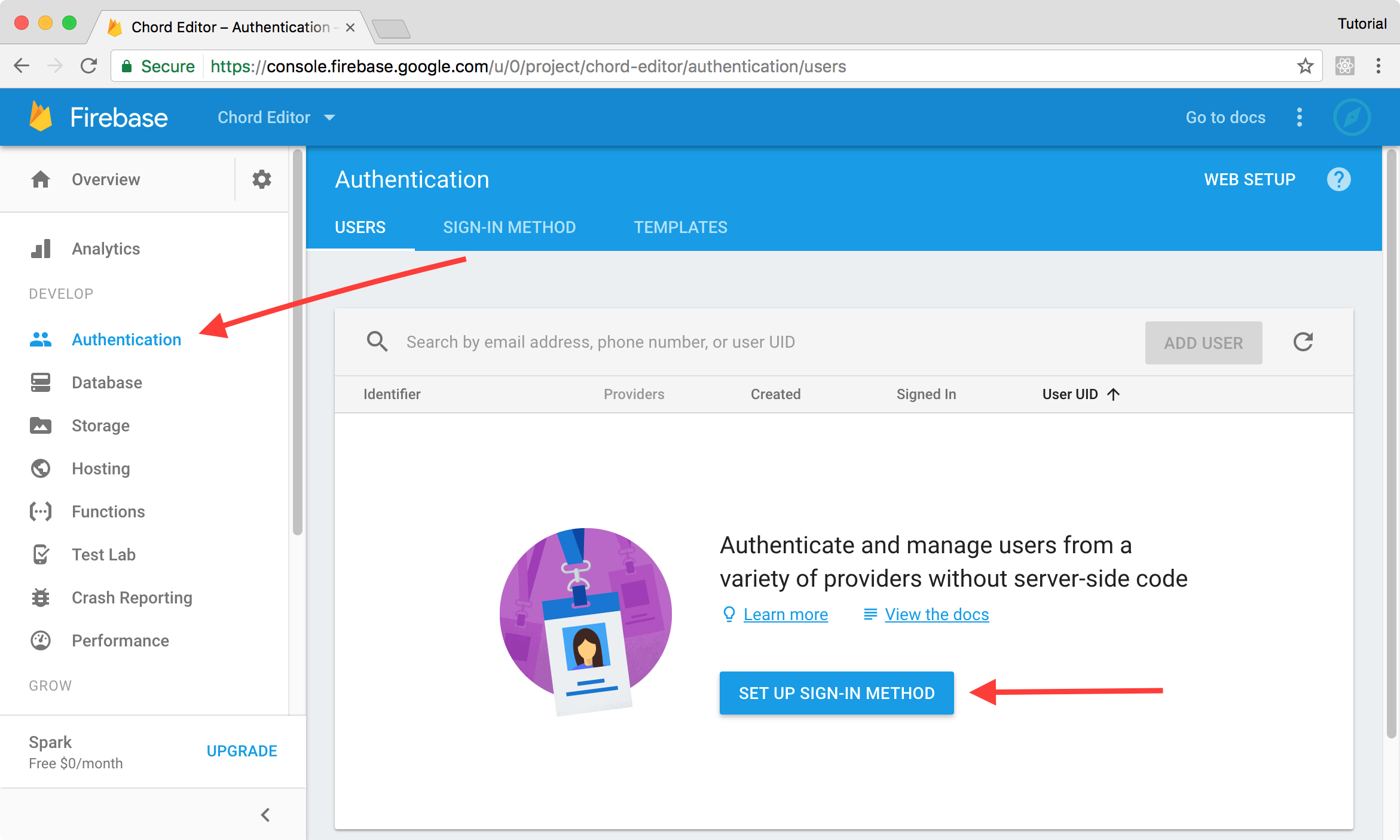 Firebase authentication tab